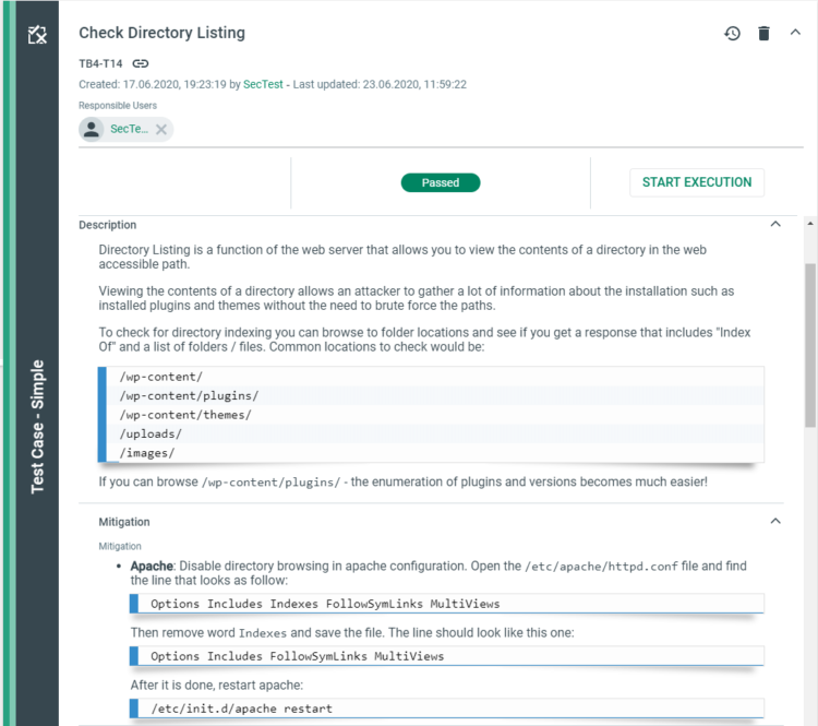 Test Case Check Directory Listing